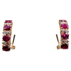 Ruby & Diamond Lever Stud Earrings
