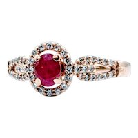 Natural Ruby Ring with Diamond Halo
