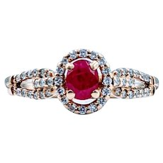 Gorgeous Rich Ruby & Diamond Gold Ring