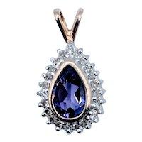 Pear Shaped Bezel Set Amethyst and Diamond Pendant