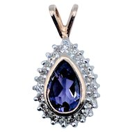 Pear Shaped Bezel Set Amethyst and Diamond Pendant