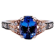 LeVian Tanzanite and Chocolate Diamond Rose Gold Ring
