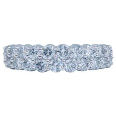 Beautiful Double Row Shared Prong Diamond Band