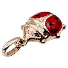 Italy 14kt Enamel Ladybug Pendant