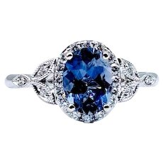 Iolite and Diamond Ring 14kw