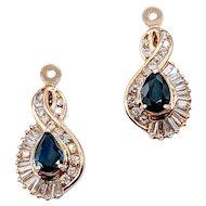 Sapphire and Diamond Earring Jackets 14k