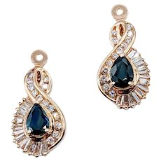 Sapphire and Diamond Earring Jackets 14k