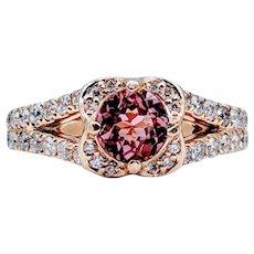Stunning Pink Tourmaline & Diamond Ring!