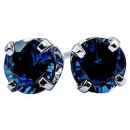Chatham Blue Sapphire Stud Earrings 1.70ctw