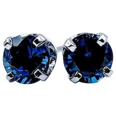 Chatham Blue Sapphire Stud Earrings 1.70ctw