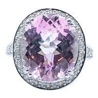 Pink Kunzite and Diamond Ring 14k