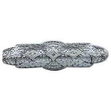 Delicate Art Deco Filigree Brooch with Diamonds