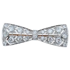 Antique Platinum & Diamond Bow Brooch
