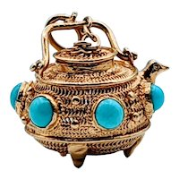 18k Incense Holder Turquoise Pendant