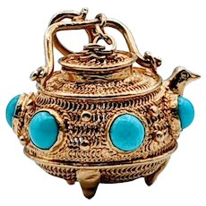 18k Incense Holder Turquoise Pendant