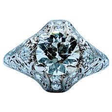1.56ct Old Euro Art Deco Platinum Ring