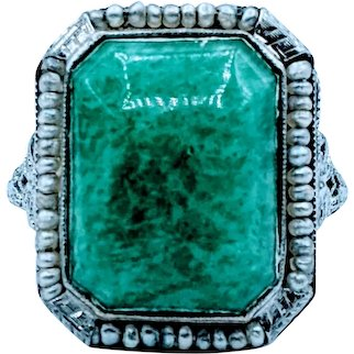 Antique Green Stone & Seed Pearl Ring