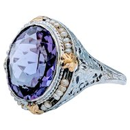 Art Deco Antique Amethyst & Pearl Ring
