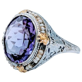 Antique Amethyst & Pearl Ring