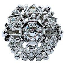 Gorgeous Vintage .58ctw Diamond Cluster Ring
