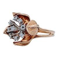 Unique! 14k  Two-Tone Diamond Flower Ring