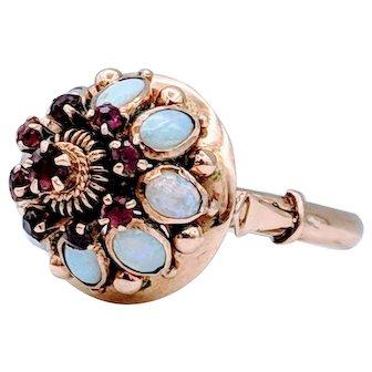 Bohemian Opal & Ruby Ring