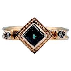 Stunning Blue Green Tourmaline and Diamond Ring 18k