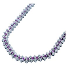 Ruby and Diamond Tennis Necklace 18k