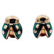 Vintage Lady Bug Green Enamel Earrings 18k