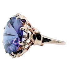 Vintage Fantasy Cut Lab Color Change Sapphire Ring