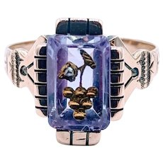 Victorian Amethyst Ring with Inlaid Grape Motif and Rose cut Diamond