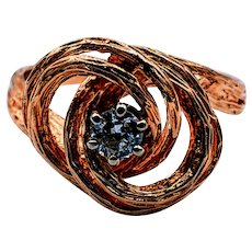 Vintage Textured Swirl Ring .20ct Euro Cut Diamond