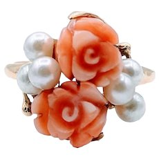 Vintage Rose Carved Coral and Pearl Ring