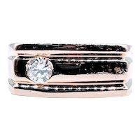 Heavy Men's Diamond Solitaire Ring .33ct