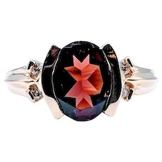 Oval Garnet and Diamond Ring Bezel Set 14k