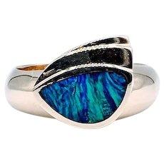 Beautiful Fiery Black Opal Ring 14k