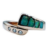 Vintage Opal & Diamond Band