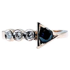 Vintage Sapphire and Diamond Arrow Ring 9k