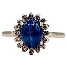 Beautiful Star Sapphire & Diamond Ring
