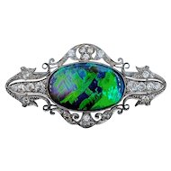 1920s Semi Black Opal & Diamond  Platinum Brooch