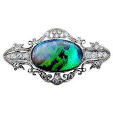 1920's Black Opal & Diamond Platinum Brooch