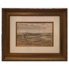 "Geoffrey H. Rhoades ""View Over the Fields"" 1933 Original Watercolor"