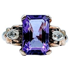 1940s Emerald Cut Amethyst and Diamond Ring