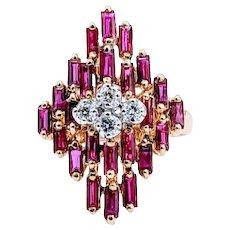 Vintage Ruby & Diamond Ring 18k