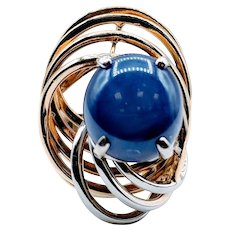 Vintage Lab Blue Star Sapphire Ring 18 karat two-tone