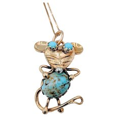 Fun Vintage Turquoise Mouse Charm W/Chain
