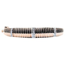 Coin Edge Diamond Bangle Bracelet 14k 18.6gr