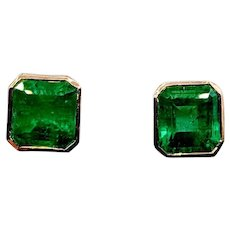 Stunning Vintage Colombian Emerald Earrings 3.5ctw 18k