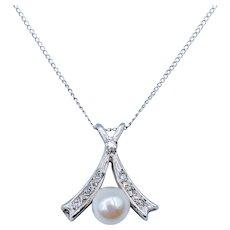 Cultured Pearl & Diamond Necklace