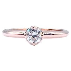 European Cut Diamond Solitaire Rose Gold